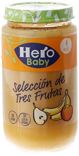 Hero Baby - Selección de 3 Frutas: Pera, Plátano y Melocotón Tarritos de puré para Bebés a partir de 4 meses Pack de 12 x 235 g
