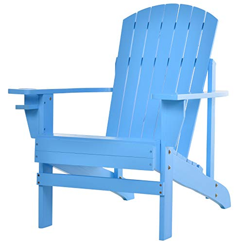 Outsunny Outdoor Classic Wooden Adirondack Deck Lounge Chair with Ergonomic Design & a Built-in Cup Holder, Blue