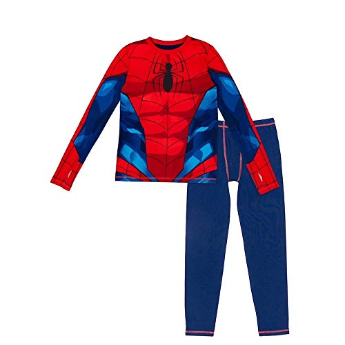 Cuddl Duds Spider-Man Boy Thermal Underwear 2-Piece Set (Medium 8-10) Red
