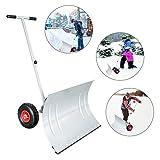wolketon Schneeschaufel mit Räder - 5-fach Höhenverstellbar Schneeschieber mit 74cm Extra-breiten Kunststoffüberzug Blatt
