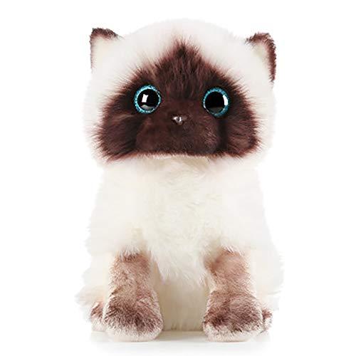 Plush Siamese Cat Dolls Stuffed Animals Toys, Simulation Siamese Cat Cute Sequins Siamese Cat Doll, Birthday Christmas Fiesta Gifts for Kids Baby Toys, White Face Ragdoll Plush Cat Home Decor (26cm)