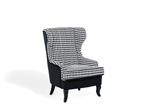 Beliani Karierter Ohrensessel in Schwarz/Weiß in Polsterbezug Einzelsessel für Wohnzimmer im Retro Stil