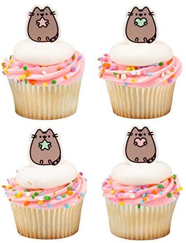 Pusheen Kitty Cat Cupcake Toppers Cake Topper Picks - Pack of 24