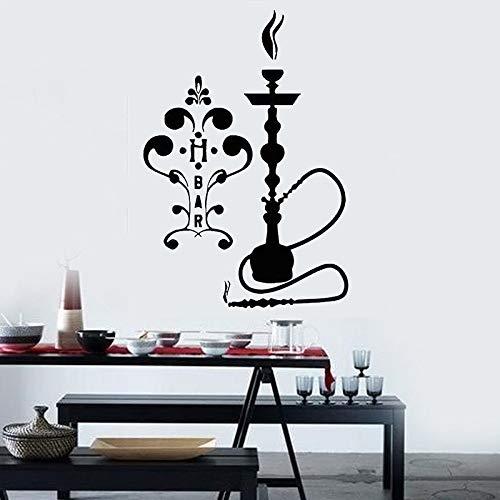 yaofale Shisha Zeichen Wandtattoo arabischen Stil Dekor Abziehbilder abnehmbare Vinyl Wandaufkleber Home Decor für Wohnzimmer Smoke Bar 61x42cm