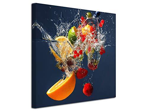 DECLINA Tableau Cadre carré de Fruits - Impression sur Toile décoration Murale - Déco Maison, Cuisine, Salon, Chambre Adulte - Multicouleur 50x50 cm