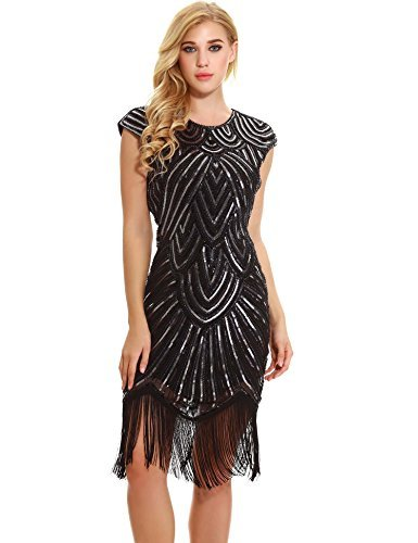 Women's Cocktail 1920s Dresses - Gatsby Sequin Art Deco Flapper Dress(S,Black)