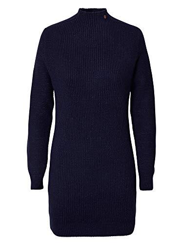 Petrol Industries Damen Kleid Strickkleid in Grobstrickoptik mit Stehkragen, Blau (Deep Capri 5090) Small (Herstellergröße: S)