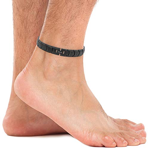 MagnetRX® Ultra Strength Magnetic Anklet for Men - Arthritis Ankle Pain Relief Magnetic Therapy Anklets - Mens Titanium Ankle Bracelets (Black)