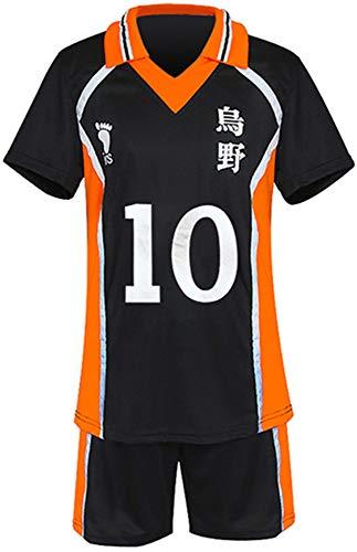 Gurbanton Haikyuu Costume Jersey Karasuno High School Volleyball Uniform Cosplay Shirt Shorts (XL, 10-Hinata Shoyo)