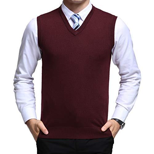 Yingqible Herren West Ärmellose Pullunder Strickweste V-Ausschnitt Einfarbig Wollweste für Männer, Rot, XL