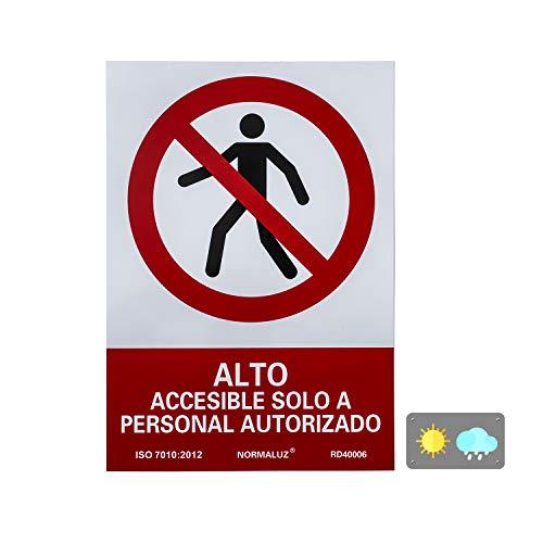 Normaluz RD40006 SEÑAL PVC PROHIBIDO PASO PERSONAL NO AUTORIZ 21X30, Rojo, 21x30 cm