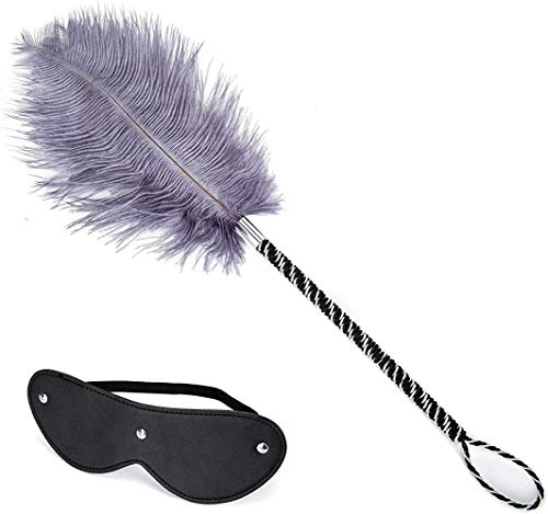 Huangte Toys Leather Blindfold Set Feather Teaser Tickler Feather for wome Men Cosplay Props HY0237