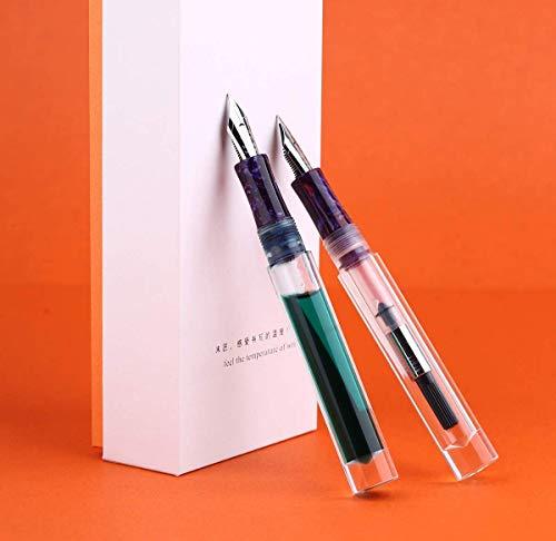 Majohn - Pluma estilográfica C1, punta fina, resina acrílica transparente, relleno de cuentagotas de ojos, gran capacidad de tinta con convertidor y caja