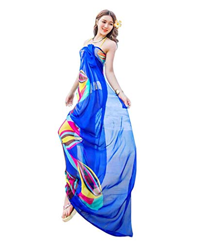 GERINLY Large Sarong Wrap for Women Plus Size Beach Cover Up Chiffon Thin Bathing Suit Wrap Skirt Geometrical Design (Blue)