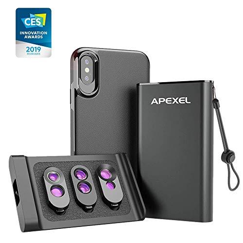APEXEL 3-in-1 Kameraobjektiv-Set mit magnetischer Rückseite, für iPhone X/XS, externes Objektiv-Set, Dual-Makro-Objektiv, Teleobjektiv, Fischauge, Teleobjektiv und Weitwinkel