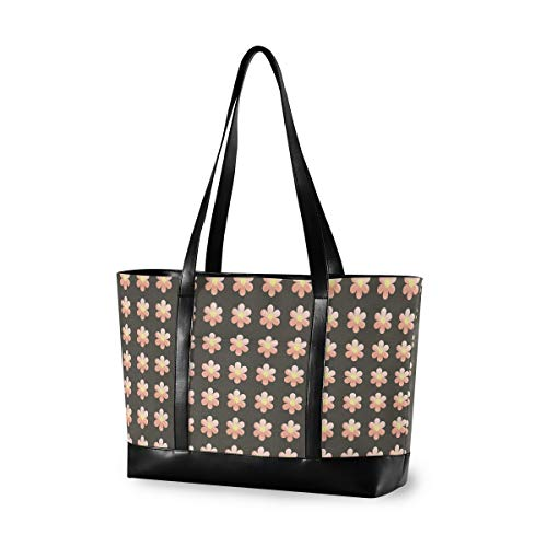 Floral Flower Black 14 15 15.4 15.6 inch Laptop Tote Bag for Women Large Lightweight and waterproof Computer Handbags Laptop Shoulder Messenger Bag