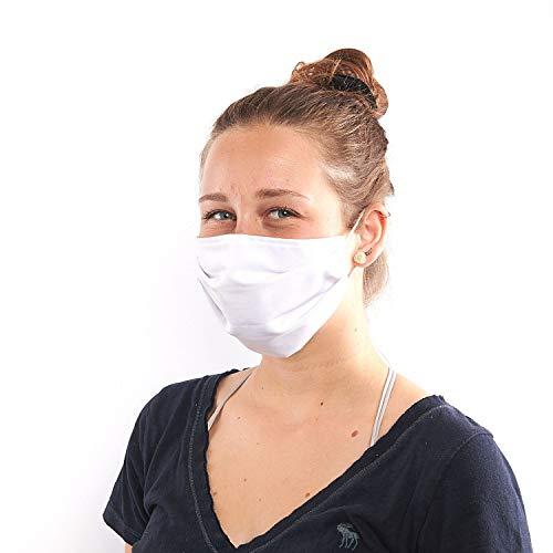 Boundletics Behelfsmaske - waschbar & wiederverwendbar - Mund-Nasen-Maske aus Stoff - 3 Stück (weiß)