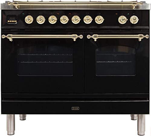 Ilve UPDN100FDMPN Nostalgie Series 40 Inch Dual Fuel Convection Freestanding Range, 5 Sealed Brass Burners, 4 cu.ft. Total Oven Capacity in Glossy Black, Brass Trim (Natural Gas)