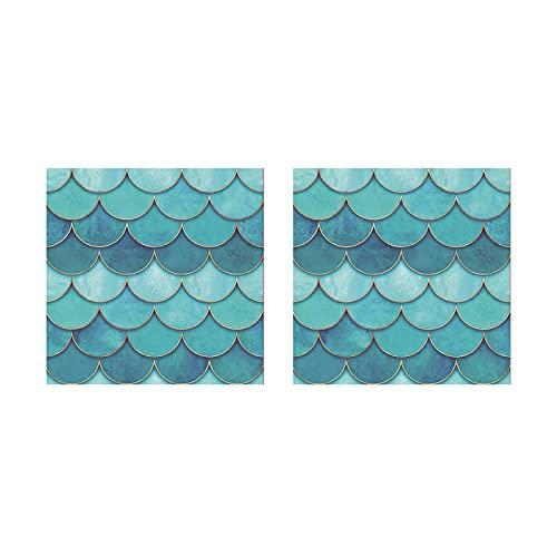 Selotrot Pegatinas para azulejos de pared extraíbles, 3D de escala de pez, impermeable, para sala de estar, baño, decoración del hogar, 28 x 28 cm