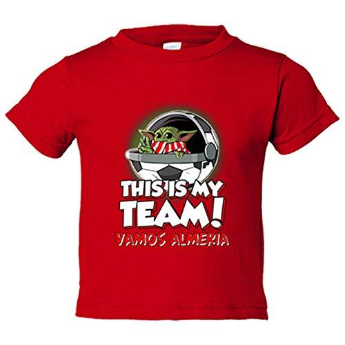 Camiseta niño parodia baby Yoda mi equipo de fútbol vamos Almería - Rojo, 7-8 años