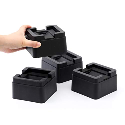FONDDI Bed and Furniture Risers 2 Inch Stackable - Heavy Duty Black Square Anti Slip to Castor Wheels - for All Types of Desks, Couches, Sofas, Chairs, Dorms - 4 Pack