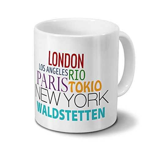 Städtetasse Waldstetten - Design Famous Cities of the World - Stadt-Tasse, Kaffeebecher, City-Mug, Becher, Kaffeetasse - Farbe Weiß