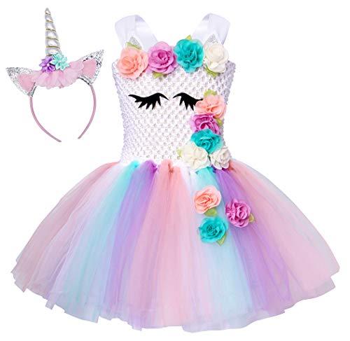 AmzBarley Einhorn Kostüm Tutu Kleid Kinder Einhörner Mädchen Prinzessin Kleider Geburtstag Party Ankleiden Karneval Halloween Cosplay Abendkleid Kleidung mit Stirnband, Weiß 05, 5-6 Jahre