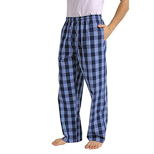 Pantalones de Pijama a Cuadros Sueltos Casuales de Moda para Hombre cómodo Casual pantalón Largo Pantalones Rectos otoño e Invierno Pantalones caseros Estampados Azul 413