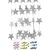 DIWULI, 4 m XXL Stella Stella Ghirlanda da Appendere, Stella gagliardetto Catena d'Argento, Stella Bandiera Bandiera Festa di Compleanno, Festa in Giardino, Ragazza Ragazzo vivaio, Decorazione