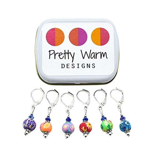 Multi Color Flower Bead Crochet Stitch Markers With Case, Ideas for Mom, by Pretty Warm Designs