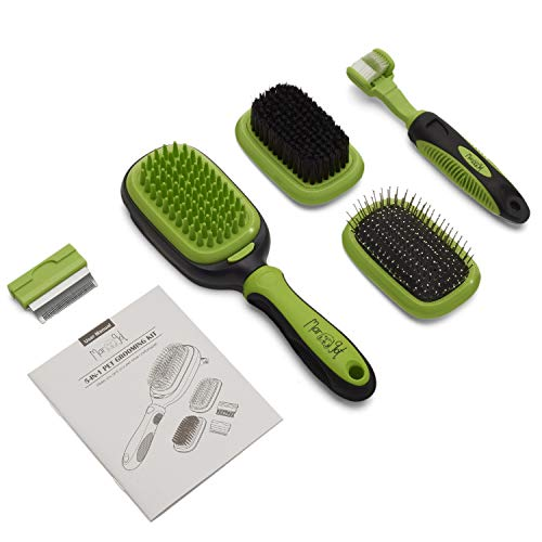 Complete 5 in 1 Pet Grooming Kit For Dogs & Cats - Professional Cat & Dog Brush Set Includes Pin, Bristle, Bath Brushes, Deshedding, Dematting Combs & Pet Toothbrush - Great For All Types Of Pet Hair
