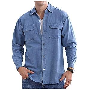 Men's Denim Shirts Long Sleeve Button-Down Workwear Chambray Jean Shirt Blouse