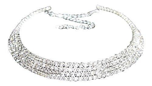 Strass Halskette Halsreifen Strasshalsband Halsband Strass Collier in 3 Breiten 5-Reihig