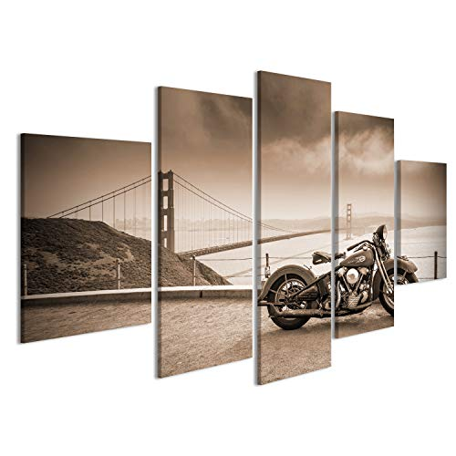 islandburner Quadro Quadri su Tela Harley Davidson Hog in San Francisco bay JZK qualità Molto Elevata Bellissimo