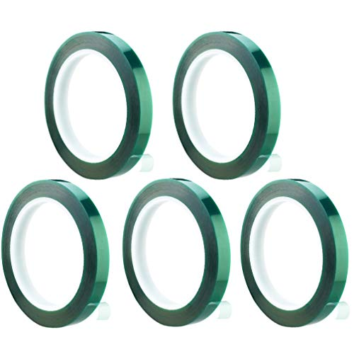ULTECHNOVO 5pcs Tape Green Insulation Tape Heat-Resistant - Car Spray Paint Masking Tape - High Temperature Shielding Tape Solder Plating Insulation Protection