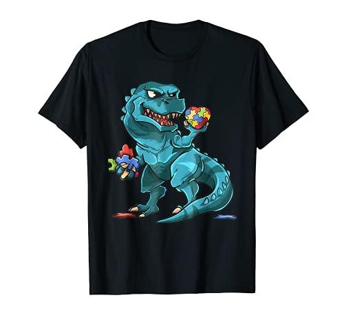 Autism Awareness Dinosaur Tee | T-Rex Heart Puzzle Pieces T-Shirt