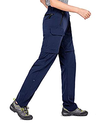 Wespornow Women's-Convertible-Zip-Off-Hiking-Pants for Camping, Travel (Navy, X-Large)