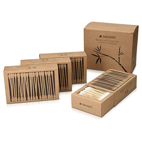 Navaris Bastoncillos para los oídos de bambú y algodón - 800 Palillos de orejas 100% reciclables biodegradables y ecológicos - 4 cajas de 200 uds.