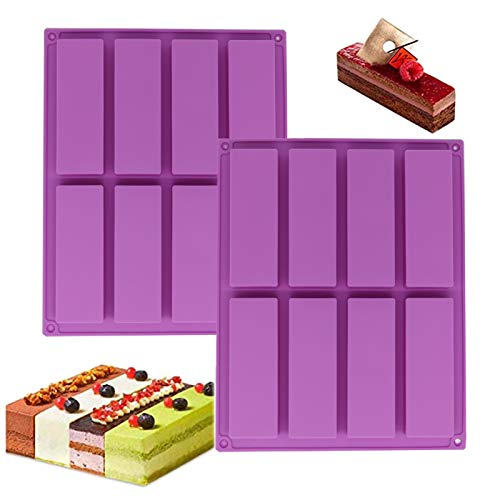 Lot de 2 moules rectangulaires en silicone pour chocolats, muffins, pain, brownies, pain de maïs, cheesecakes, puddings et gâteaux, 8 tasses (violet)