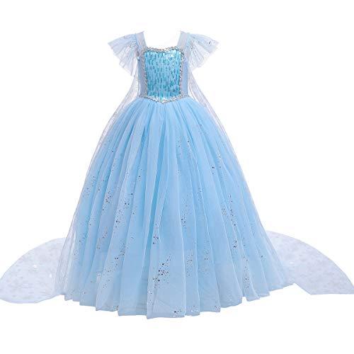 Vestido de princesa Elsa Aurora Cenicienta con perlas para Halloween