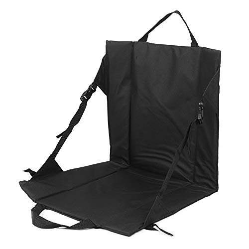 Asiento de estadio plegable negro con respaldo, silla de piso semi plegable Sillas acolchadas acolchadas de tela Oxford liviana, para campo, hogar, camping, conciertos, juegos, senderismo y pesca