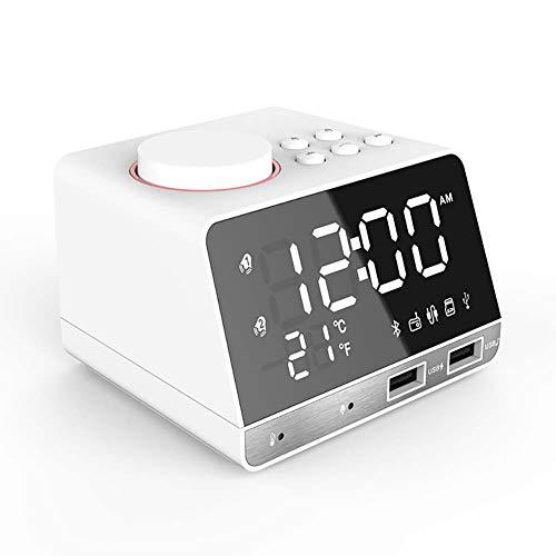 Haut-Parleur Bluetooth 4.2 Mini Portable BoîTe A Sons 2 USB Chargeur Filaire + Horloge LED + Radio FM + Micro IntéGré pour La Maison, Les Voyages en ExtéRieur, Le Bureau Noir Blanc