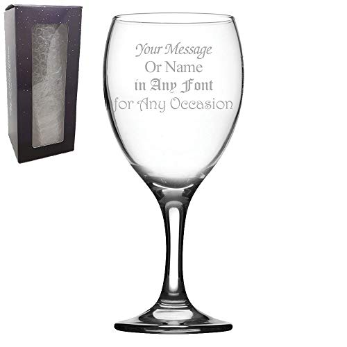 Personalised Engraved Imperial Wine Glass, Gift Boxed, Personalise with Any...