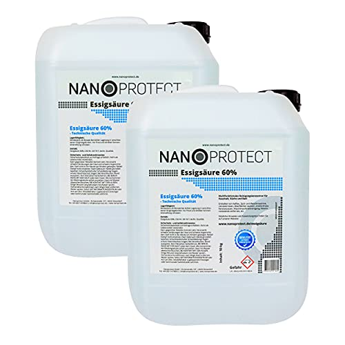 Nanoprotect Essigsäure 60%   2 x 10 kg   Premium Qualität   Deutsche Ware