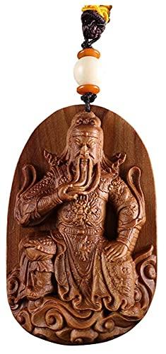 YANRUI Guan Gong Statue Anhänger Holz Buddha Statue Skulptur Anhänger Herren Amulett Halskette Guan Yu Statuette Herrenzubehör