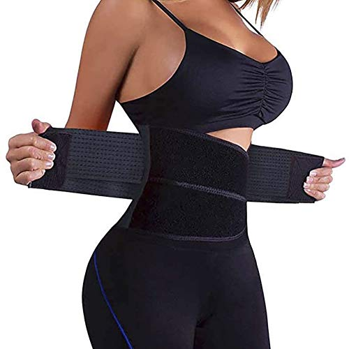 SIMONYI Waist Trainer for Women,Waist Cincher Trimmer,Slimming Body Shaper Belt,Sport Fitness Bands,Waist Belt for Weight Loss (Black, Large)
