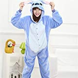 Pajama Adult Animal Stitch Onesie Women Men Boys Girls Couple Winter Pajamas Suit Sleepwear Flannel Pijama Hyococ (Color : Beige, Size : 18)