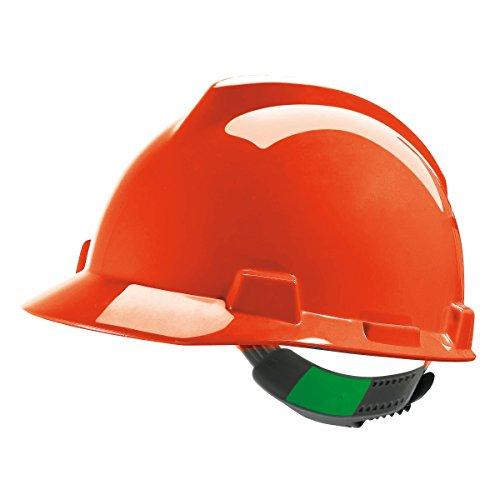 MSA V-Gard Arbeitshelm EN397 mit Schieberegelung PushKey - Bauarbeiterhelm Schutzhelm Baustellenhelm Elektrikerhelm, Farbe: orange