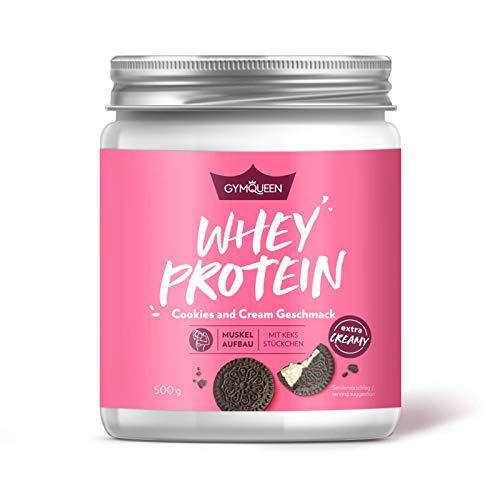 GymQueen Whey Protein-Pulver Cookies & Cream 500g, Protein-Shake für die Fitness, Whey-Pulver kann den Muskelaufbau unterstützen, Hochwertiges Eiweiss-Pulver mit 73g Eiweiß