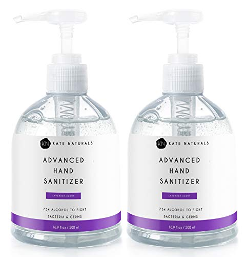 Hand Sanitizer Gel (33.8oz) by Kate Naturals. Lavender Scent. 2 Large 16.9oz Bottles. 75% Alcohol to Kill 99.99% Germs & Bacteria. Great for Kids and Adults. Non-Sticky Residue.